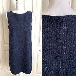 Theory Dress Button Back Shift Navy Rail Texture